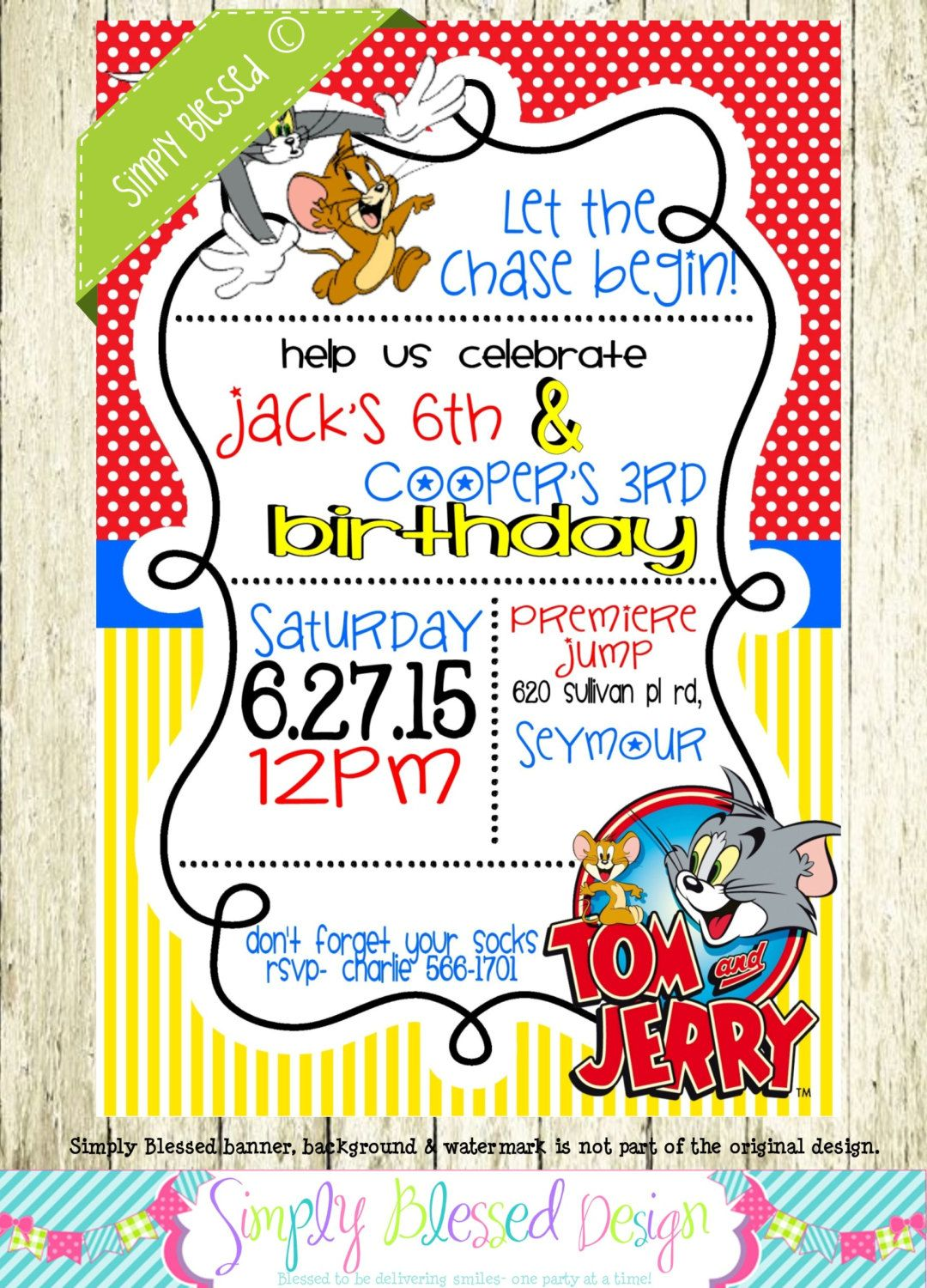 Tom and Jerry Invitations Tom Jerry Invitations Invitation