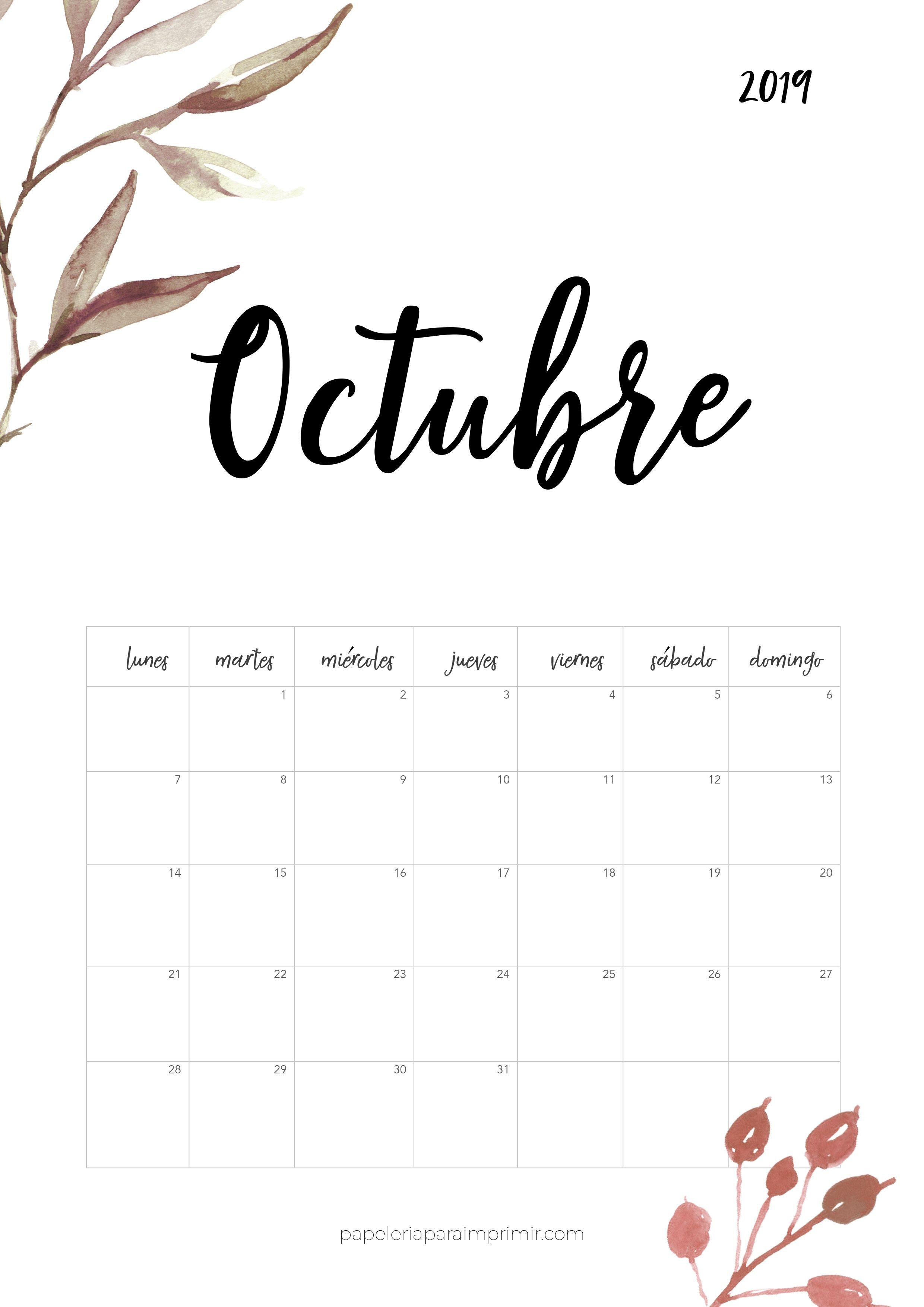 Calendario Mes De Octubre 2020 Para Imprimir.Calendario Para Imprimir 2019 Octubre Calendario