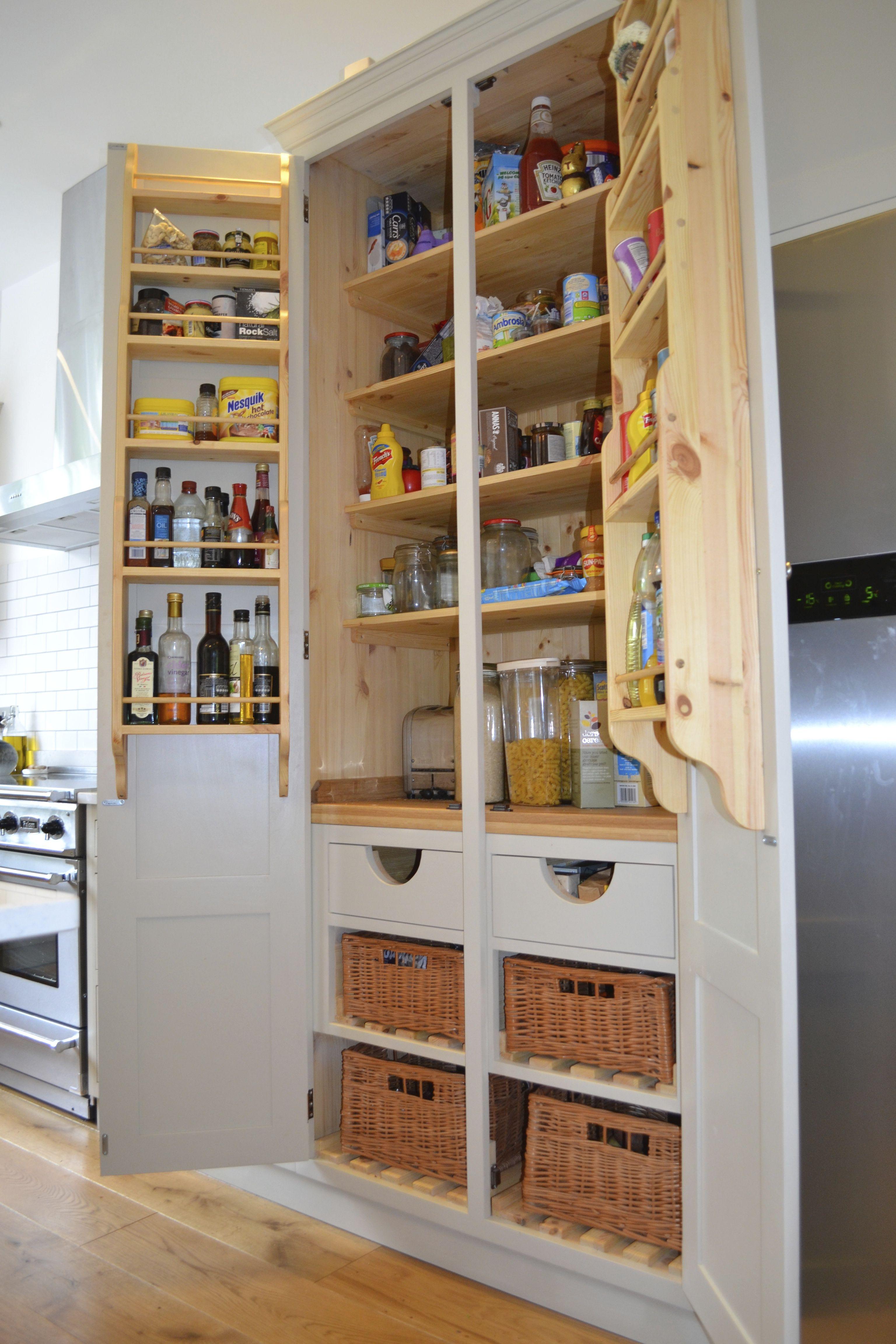 Larder cabinet vegetable basket spice racking eridge for Fitted kitchen cupboards
