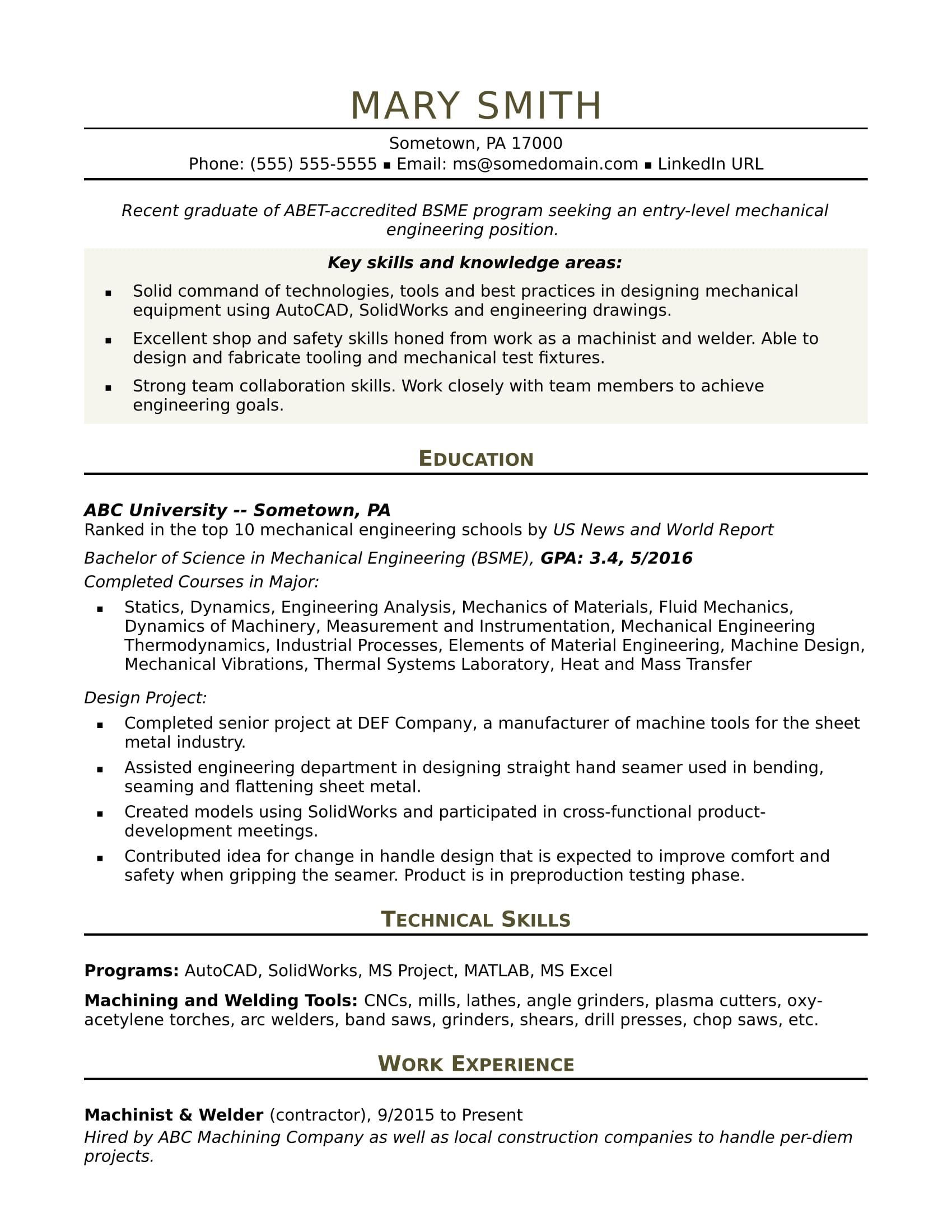 Sample resume for an entrylevel mechanical engineer