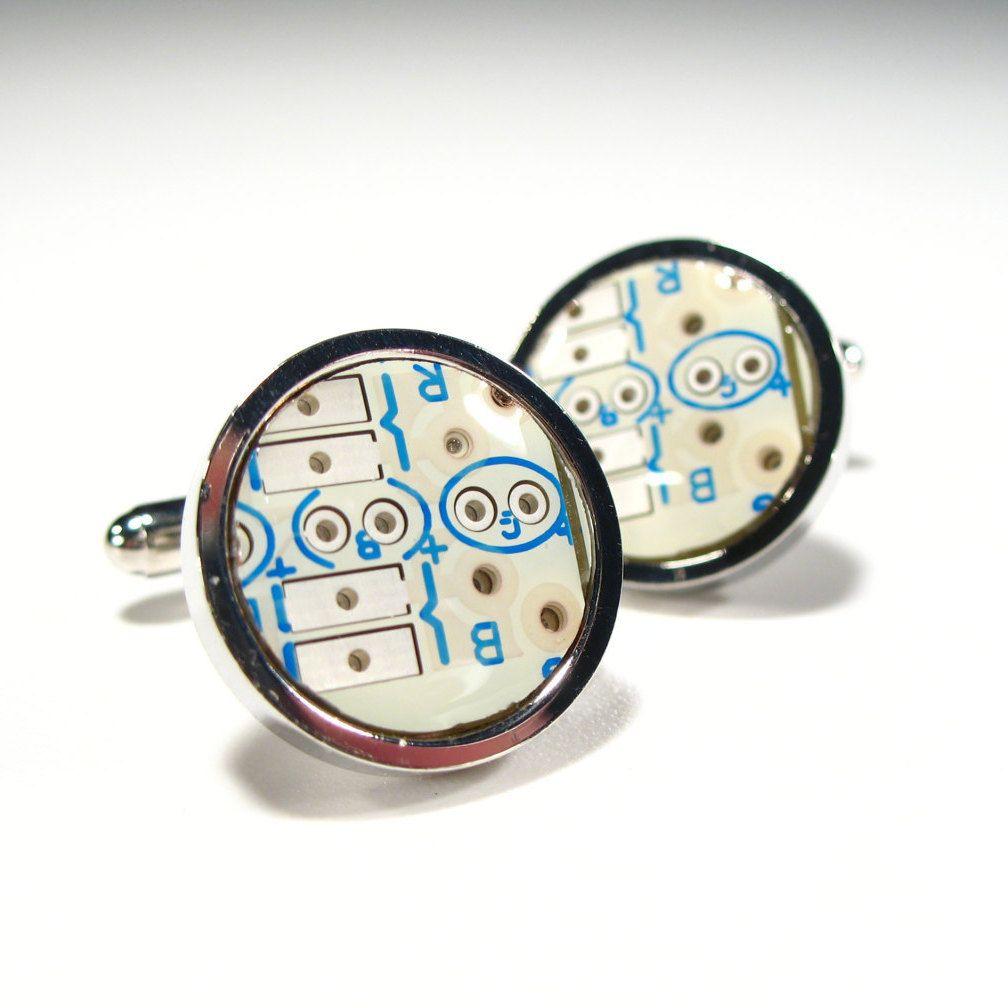 Circuit Board Cufflinks Valentines Gift White Blue Round Geek Jewelry