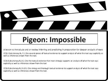 Inferring and Prediction Practice with Animated Short Pigeon:Impossible Lesson Plan and accompanying worksheet