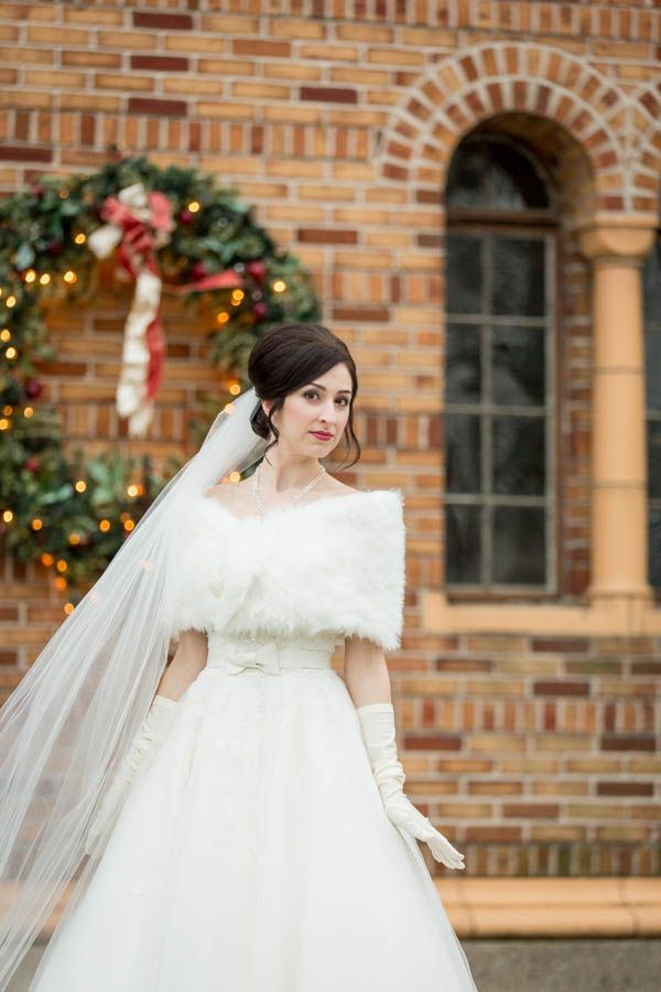 Winter Wedding Dress with Gloves