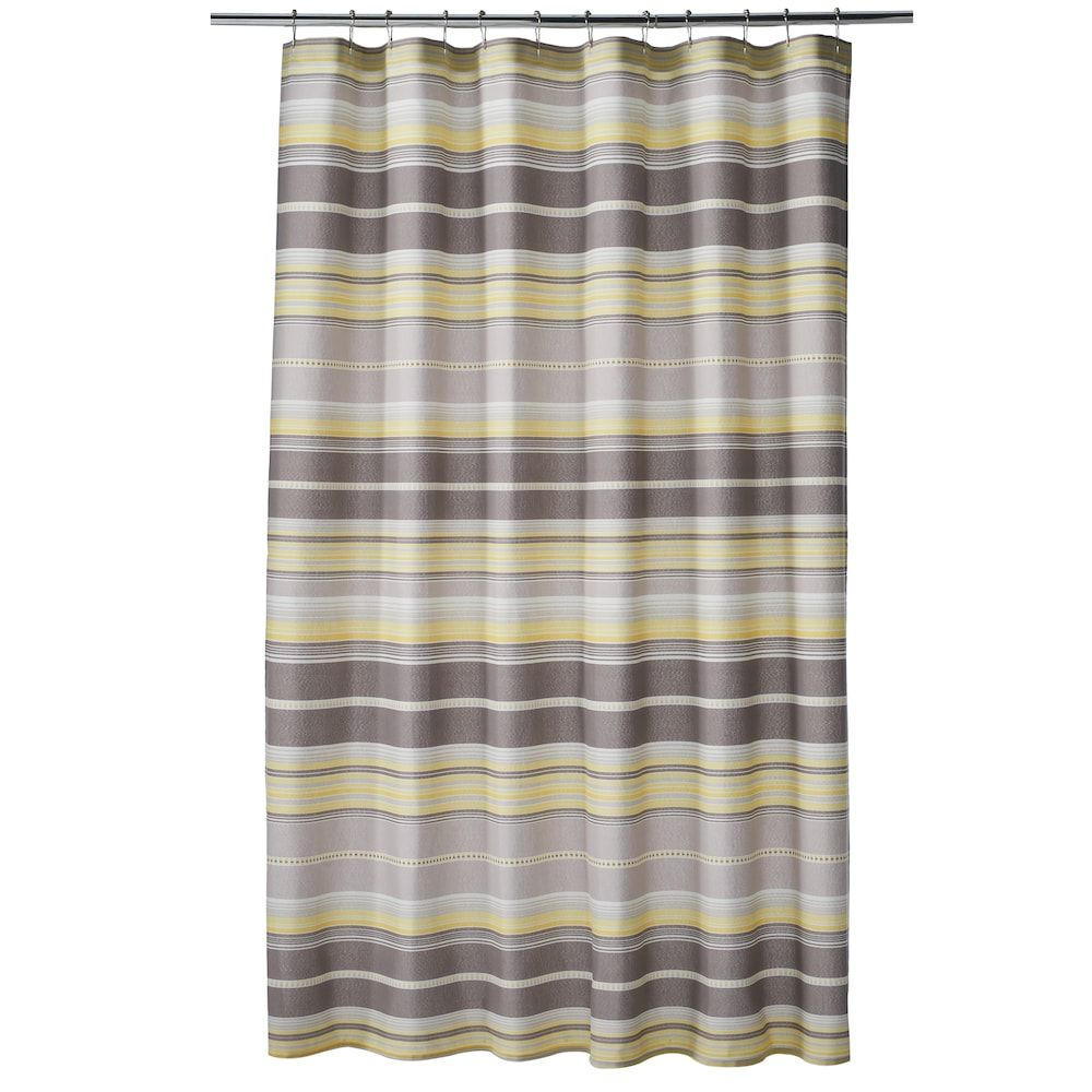 One Home Taylor Stripe Shower Curtain Grey
