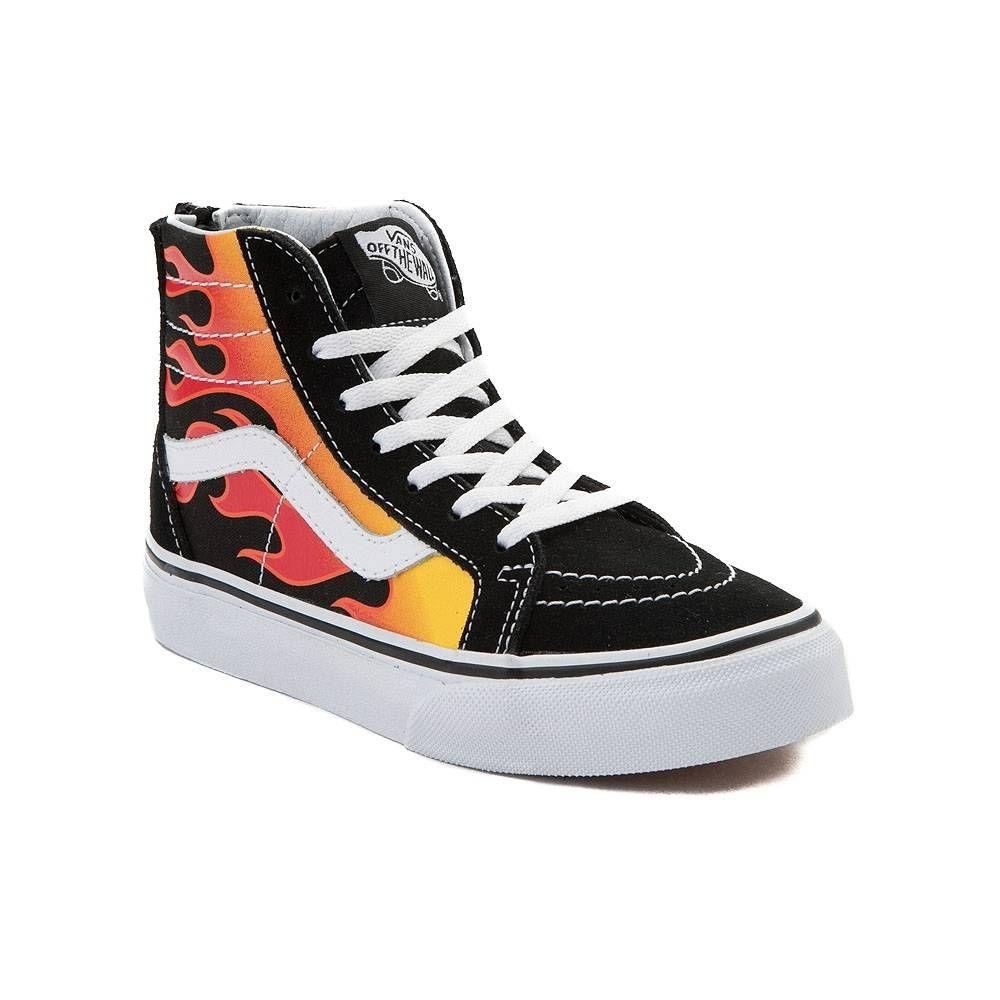 Youth Vans Sk8 Hi Flames Skate Shoe - Black Multi - 1498181 ... 380e0db86