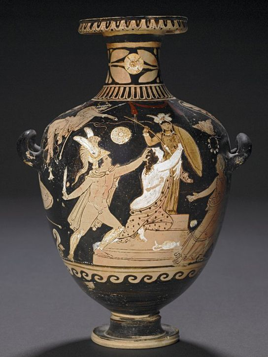 Red-figured hydria, depicting the rape of Kassandra by the lesser Ajax, son of Oileus, in Athena's temple at Troy. In the centre, the Trojan princess Kassandra kneels on the base of the statue of Athena, the Palladion. Attributed to the Danaid Group. Made in Campania, Italy. GR 1824,0501.35