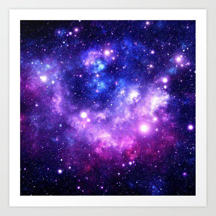 Purple Blue Galaxy Nebula Art Print by 2sweet4words Designs - X-Small