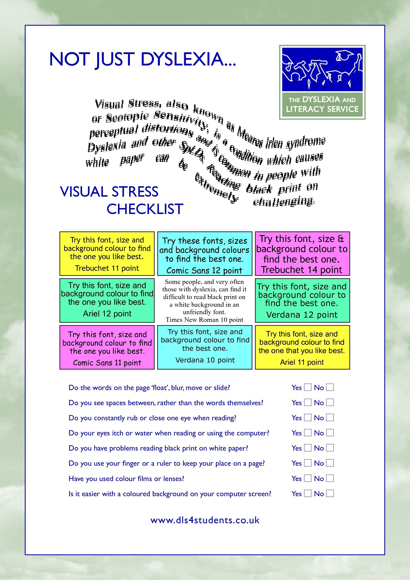 Visual Stress Checklist And Coping Strategies
