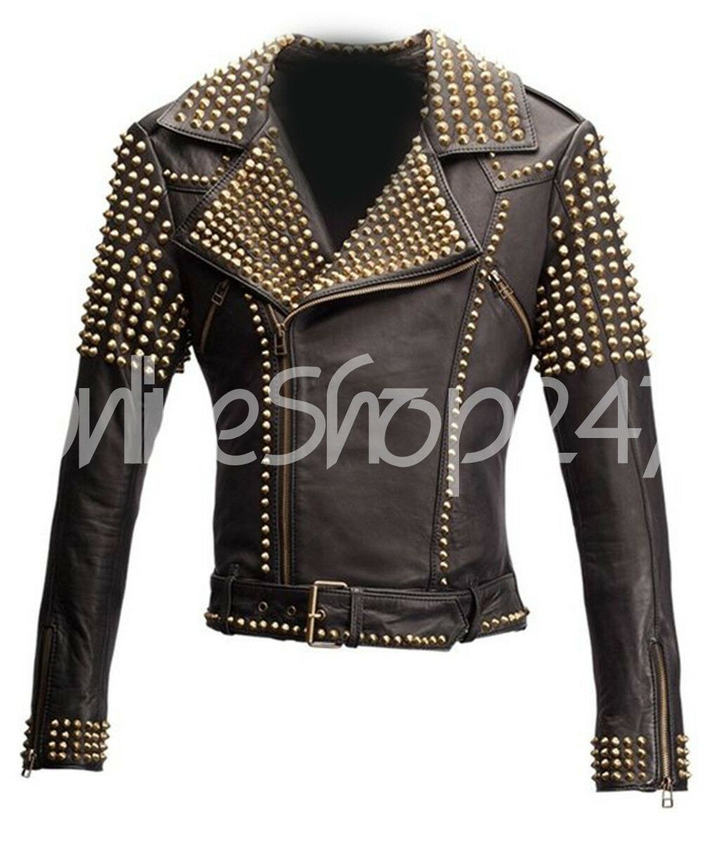 Women Black Gold Studded Studwork Handmade Studded Leather Jacket Biker Real Genuine Leadstyle New Leather Jacket Leather Jacket Black Biker Leather
