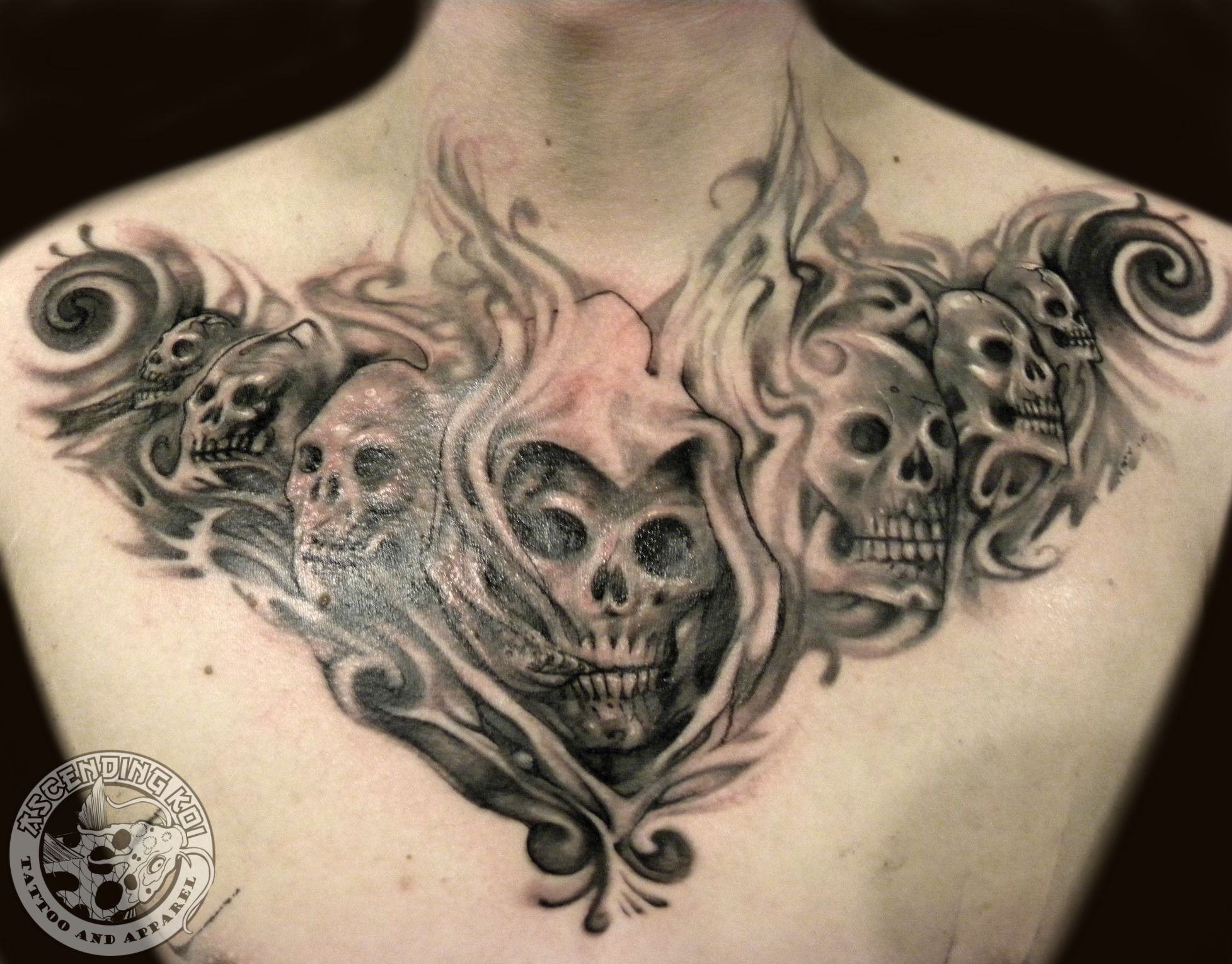 Full Chest Tattoos Skull: Smokey Skull Chest Piece Done By Trevor Jameus