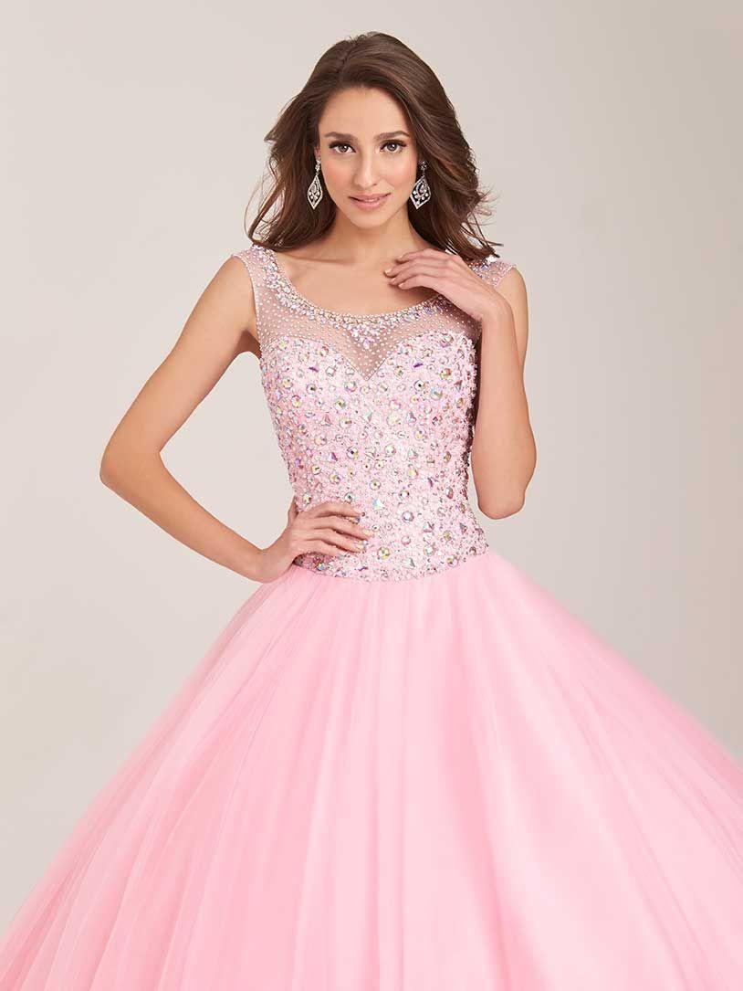 Vestido de 15 años rosado con pedrería - Alquiler de vestidos de 15 ...