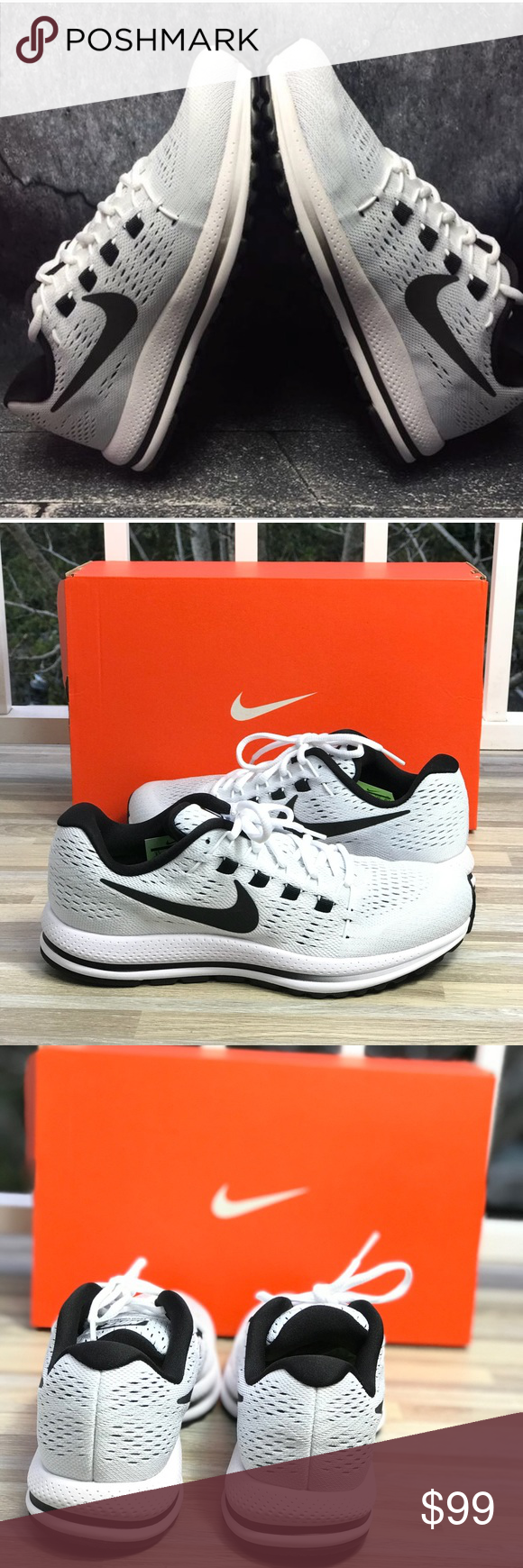 NWT Air Zoom Vomero 12 B/W Pure Platinum WMNS Shoes sneakers, Nike