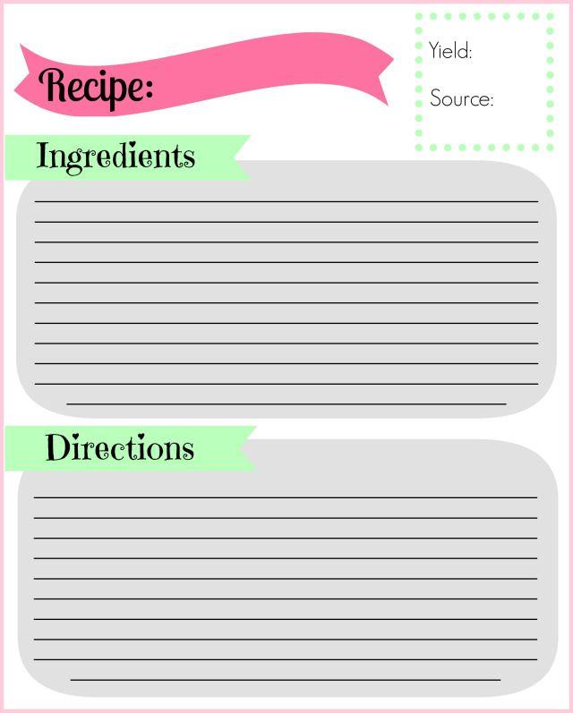 DIY Recipe Binder Recipe cards, Recipe binders and Recipes - recipe card