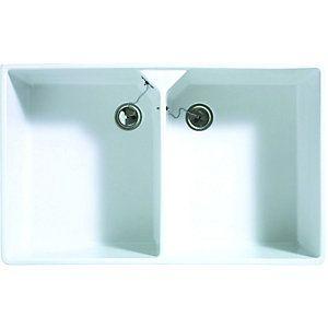 wickes double bowl butler ceramic sink white kitchen sinksbowls - Double Ceramic Kitchen Sink