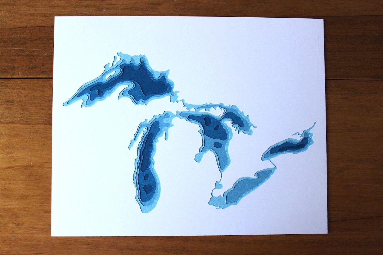 The Great Lakes Original 8 X 10 Papercut Art Etsy Lake Map Art Etsy Wall Art Map Art