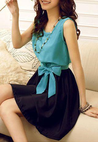 $19.99 USD[grzxy6601390]Contrast Color Bowknot Belt Bodycon Tank Dress Sundress