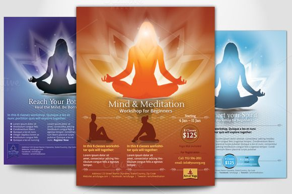 Check out Simple Yoga Meditation Flyers by Sonal on Creative - yoga flyer