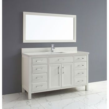 Studio Bathe Calais 60 In White Single Vanity With Mirror Bathroom Vanity Single Bathroom Vanity White Vanity Bathroom