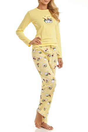 500b88074a EMME JORDAN Long Sleeve Snowman Pajama Set in Yellow