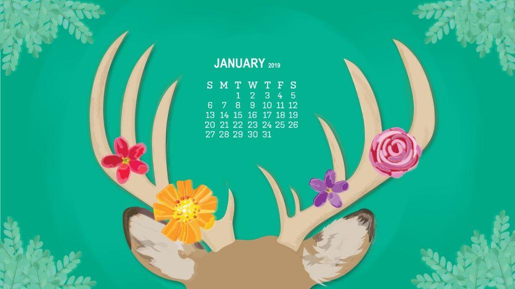 January 2019 Desktop Calendar Wallpaper Monthly Desktop Calendar
