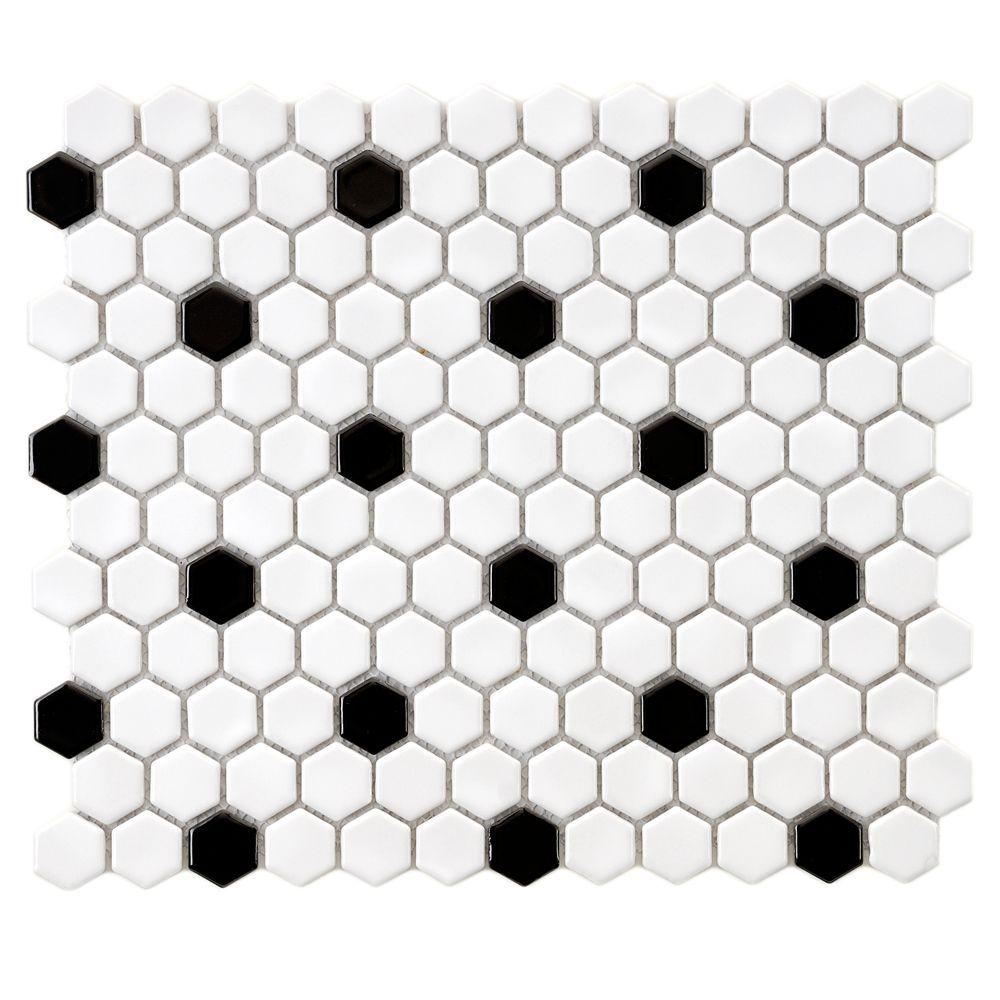 Metro Hex Glossy White W Black Dot 10 1 4 Inch X 11 3 4 Inch X 5mm Porcelain Mosaic Tile 8 54sf Ca Hexagonal Mosaic Black And White Tiles Hexagon Mosaic Tile