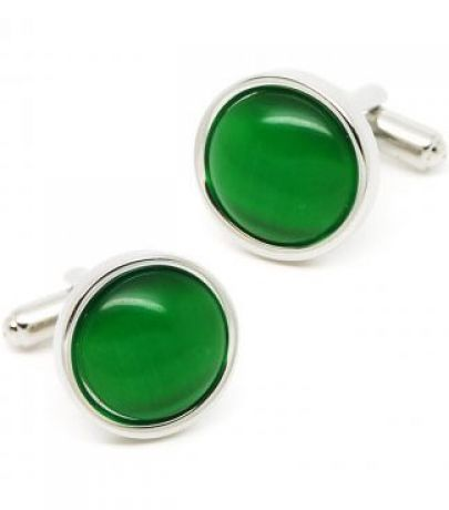 Green Gemstone Silver Round Cufflinks