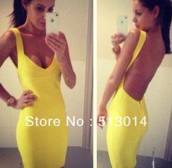 mobile site-2013 New Deep V-neck Open Back Spaghetti Strap Short Tight Bandage Dress