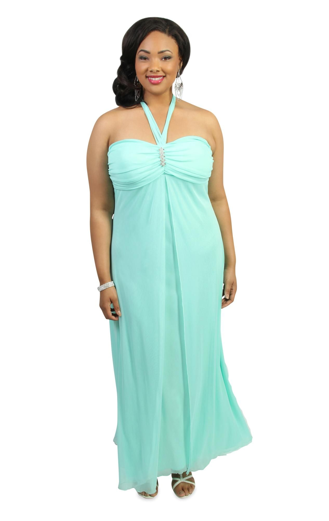 plus size halter top long #prom #dress with flyaway skirt $82.50 ...