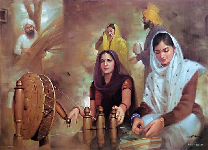 Punjabi Culture. Charkha mera chandan da vich sone diya mekha..naani maa  diya yaada ahvan  jad chakhe val dekha