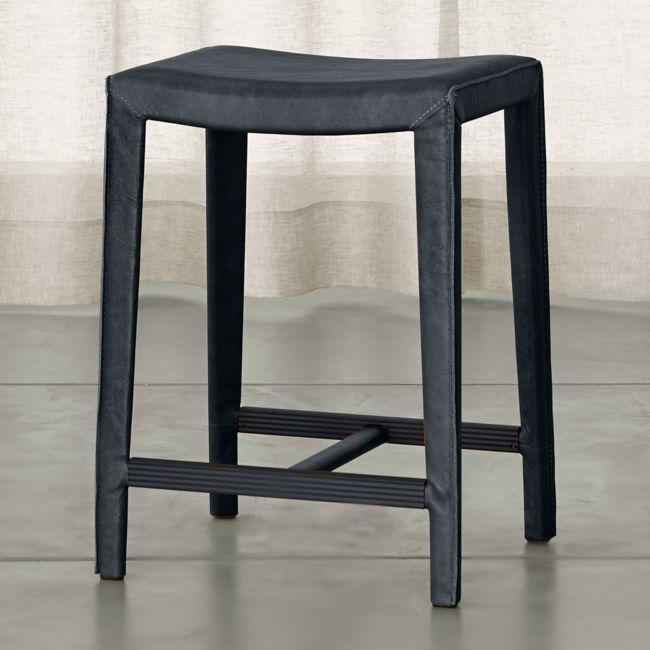 Folio Oceana Blue Top Grain Leather Backless Counter Stool Backless Bar Stools Counter Stools Stool