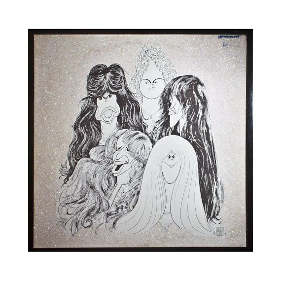 Glittered Aerosmith Album Hirshfield Drawings Aerosmith Vinyl