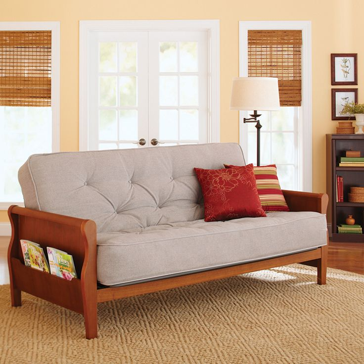 Better Homes Amp Gardens Wood Arm Futon With 8 Quot Coil