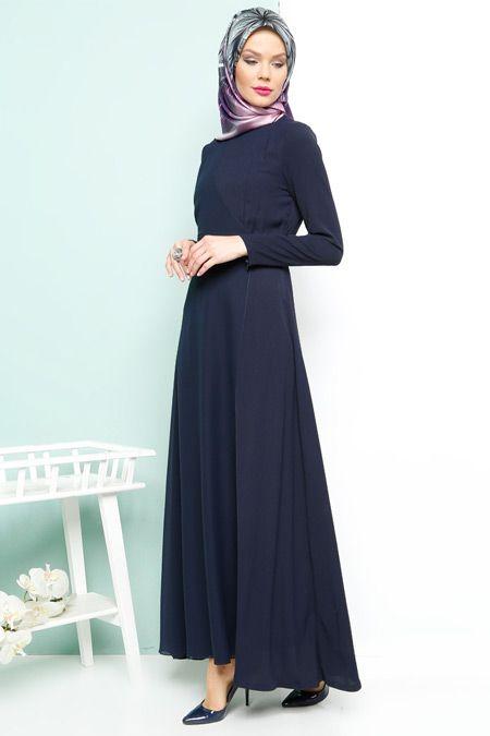 d073cffa9d9bc Armine Lacivert Şifon Detaylı Elbise | Hijab Style | Elbise ...
