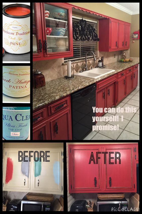 diy painted red cabinets in the kitchen | for the home | red kitchen