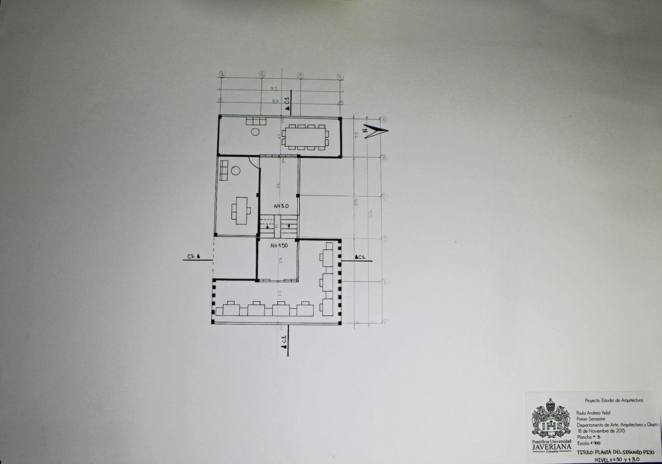 Planta Nivel +3.0 y +1.50 escala 1:100
