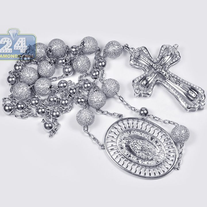 8f37a02557d9c 14K White Gold 9.31 ct Diamond Holy Rosary Beads Necklace ...