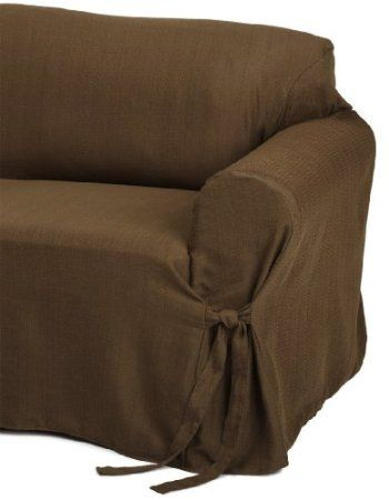 Heavy Duty Jacquard Fabric Solid Chocolate Brown Couch Sofa Cover
