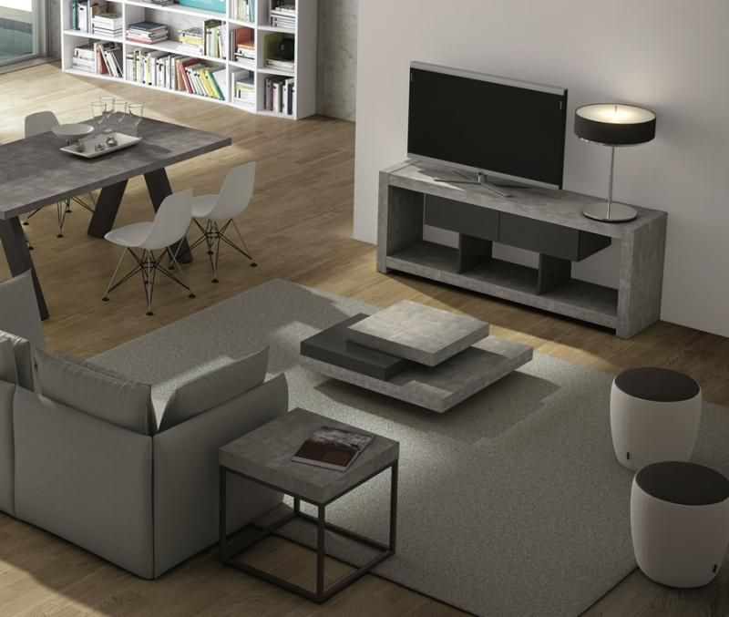 Temahome Slate Square Coffee Table In Concrete With Matching Tv