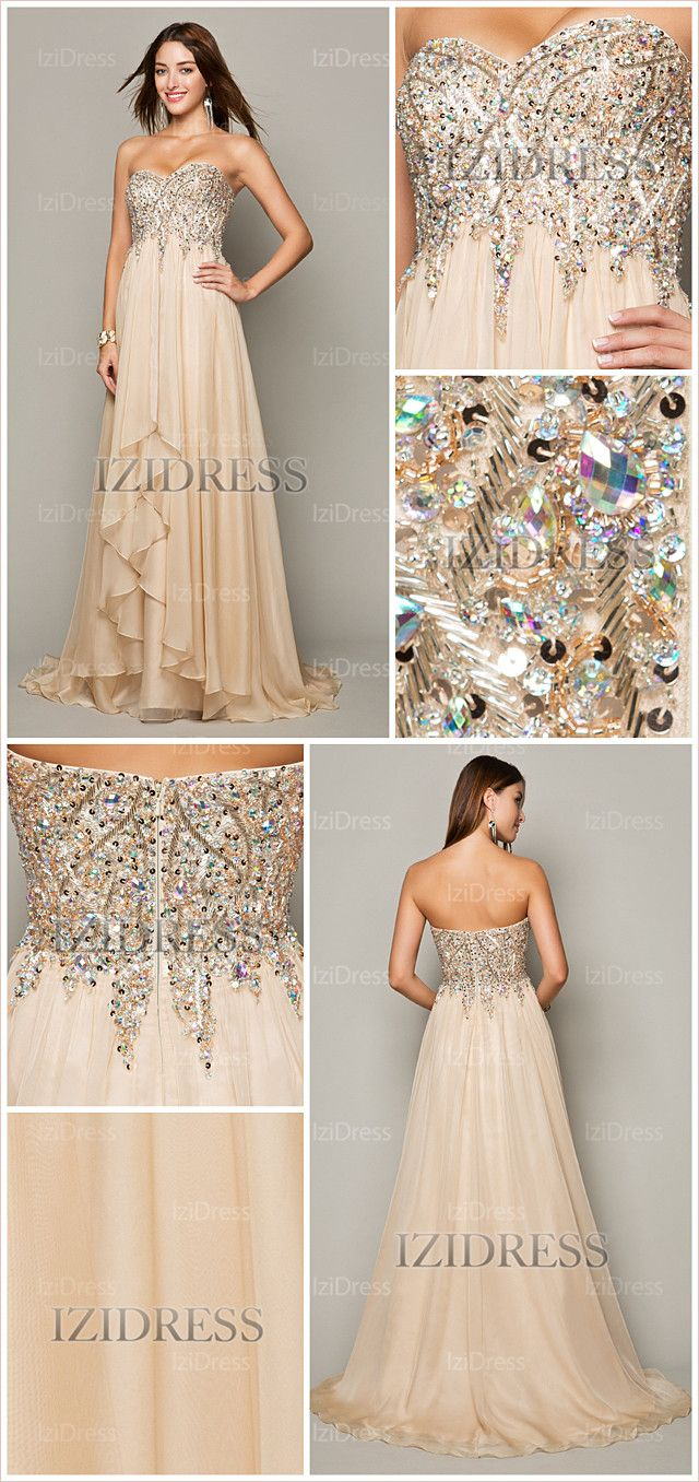 Alineprincess strapless sweetheart chiffon prom dress izidresses
