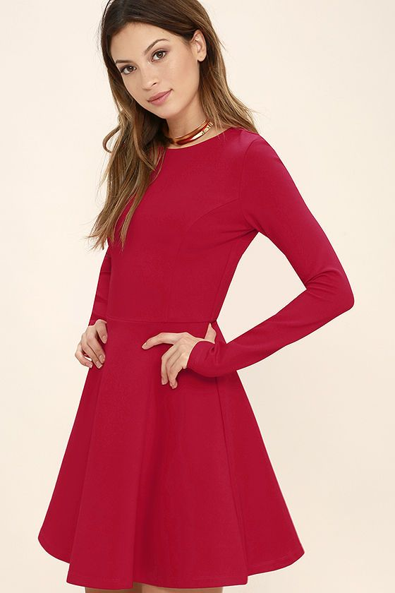 d35503415 This Season's Hottest Holiday Cocktail Dresses for Women Red Long Sleeve  Dress, Long Sleeve Evening