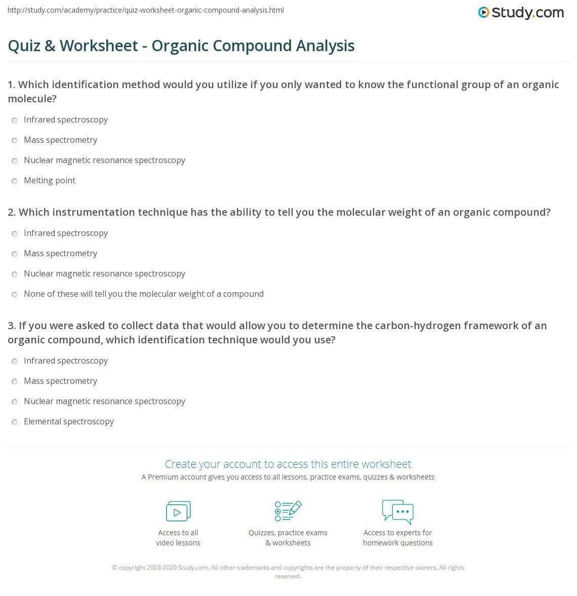 Organic Molecules Worksheet Answer Key Quiz Amp Worksheet