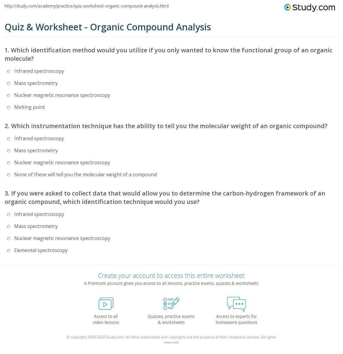 Organic Molecules Worksheet Answer Key Quiz Amp Worksheet