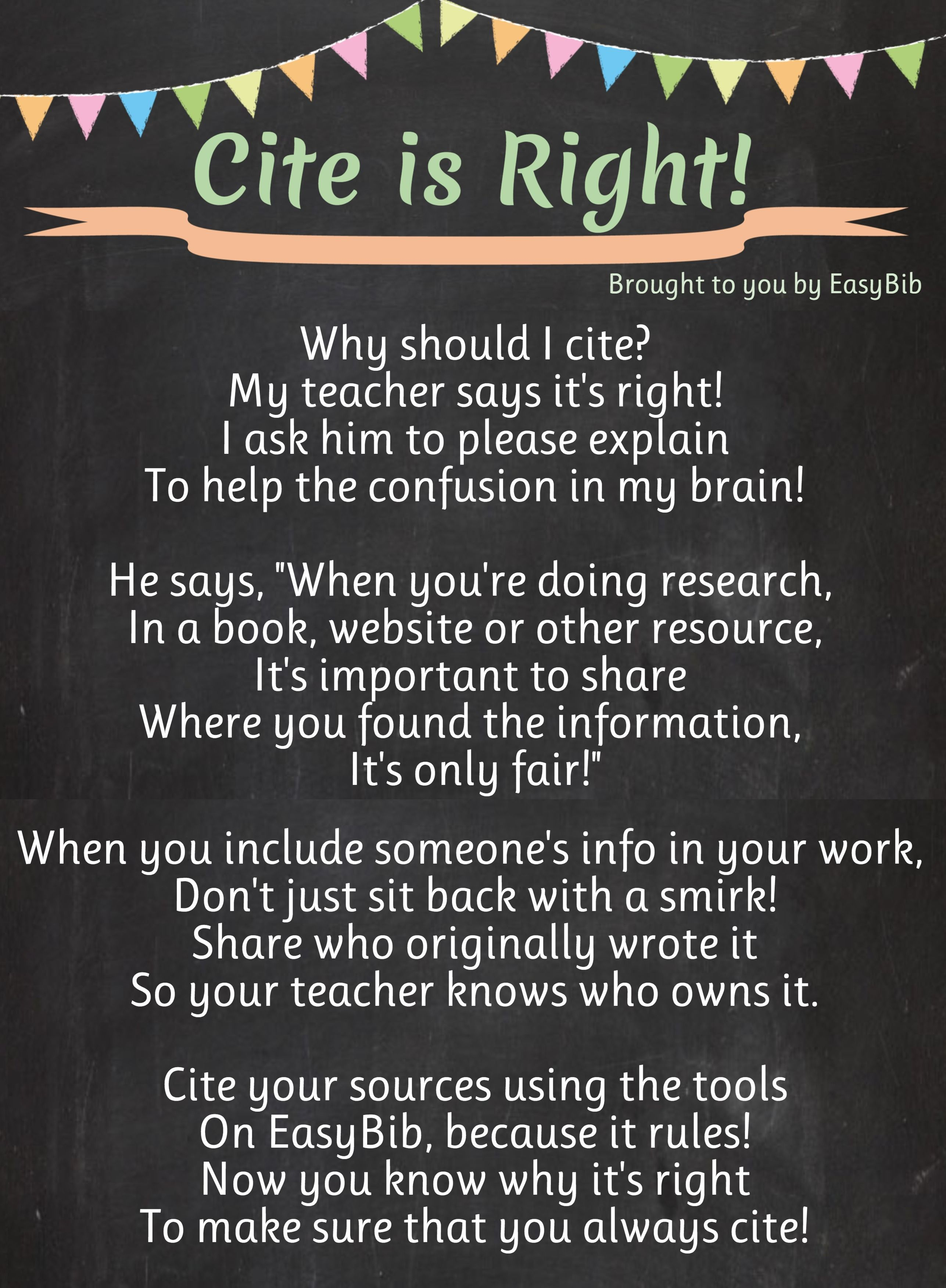 Cite Is Right Poem Use This Poem To Help Teach Your Students About The Importance Of Citations Plagiarism Library Lessons Library Skills Technology Lessons