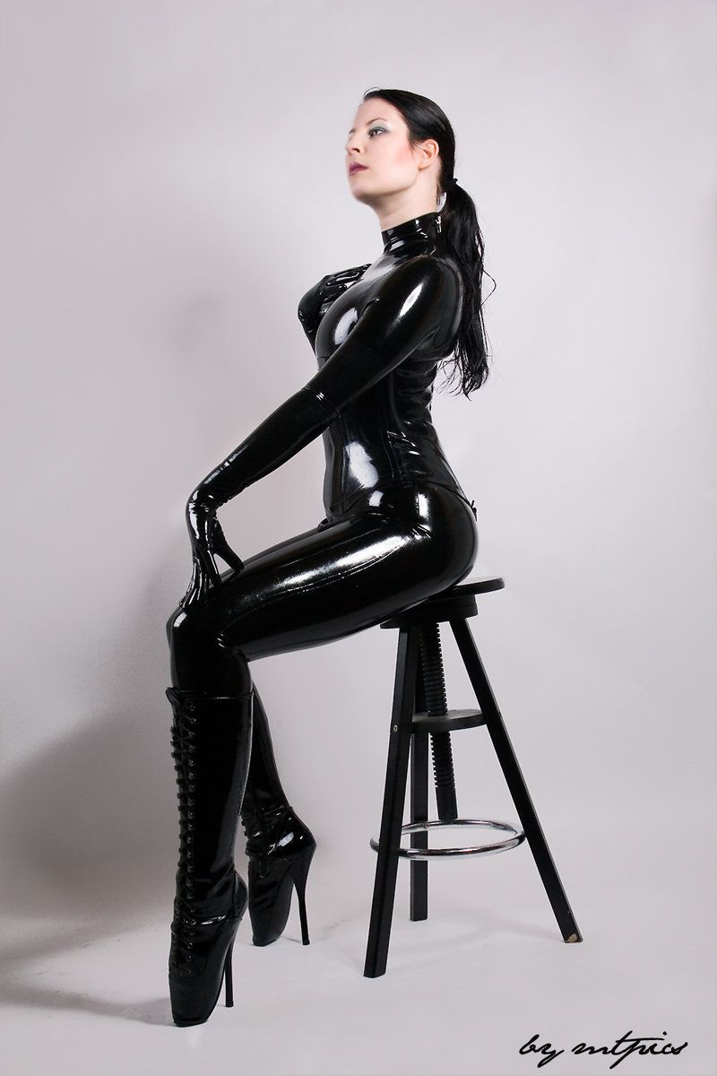 high Latex heels and
