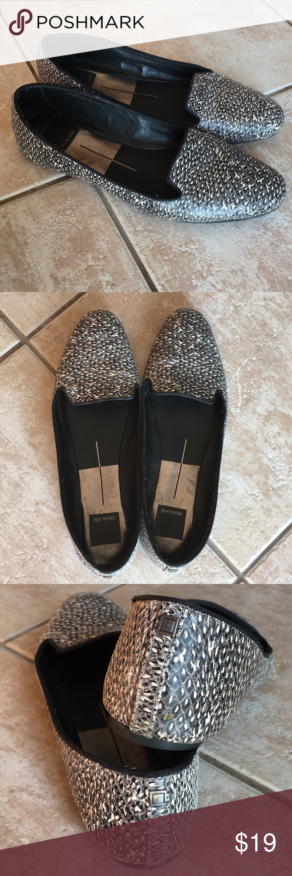 a992fb93c52 Dolce Vita Flats Size 8 Snakeskin Black White 🖤💟 Dolce Vita Ladies Flats  - imitation snakeskin in Black 🖤   White 💟. Good condition   very  comfortable.