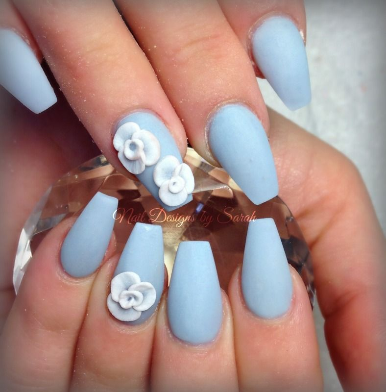 Powder blue Matte coffin nails with 3D sculpted flowers | acrylic ...