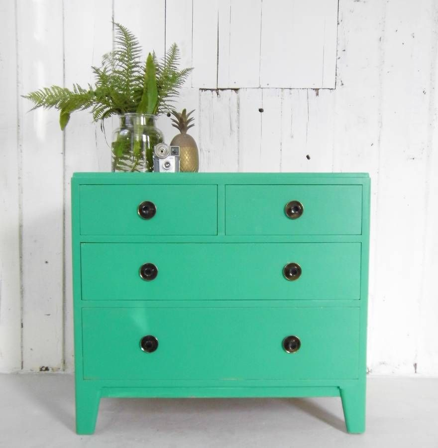 Painted Chest Of Drawers With Copper Handles