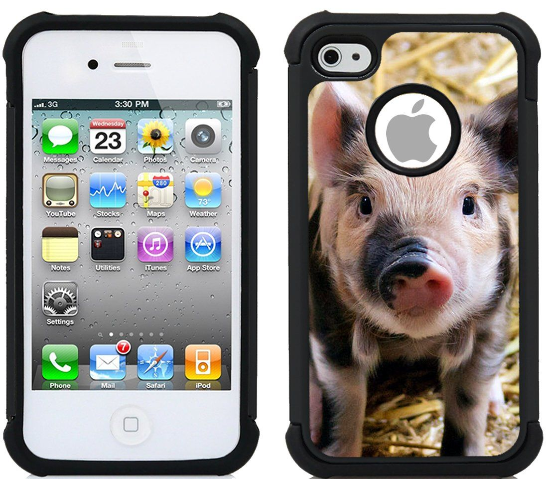 CorpCase iPhone 4 Case / iPhone 4S Case - Cute Piglet Baby Pig Spotted / Hybrid Unique Case With Great Protection. CorpCase Cases are exclusively SOLD by CorpCase(TM). Buy from us for ORIGINAL and high quality cases. CorpCase Cases are printed using exclusive technology that mixes the colors within the case material. So the design wont FADE / Crack / Peel. It stays forever new. Fits Your iPhone 4 Case / iPhone 4S Case perfectly. Its custom made for this phone model and is moulded so that…