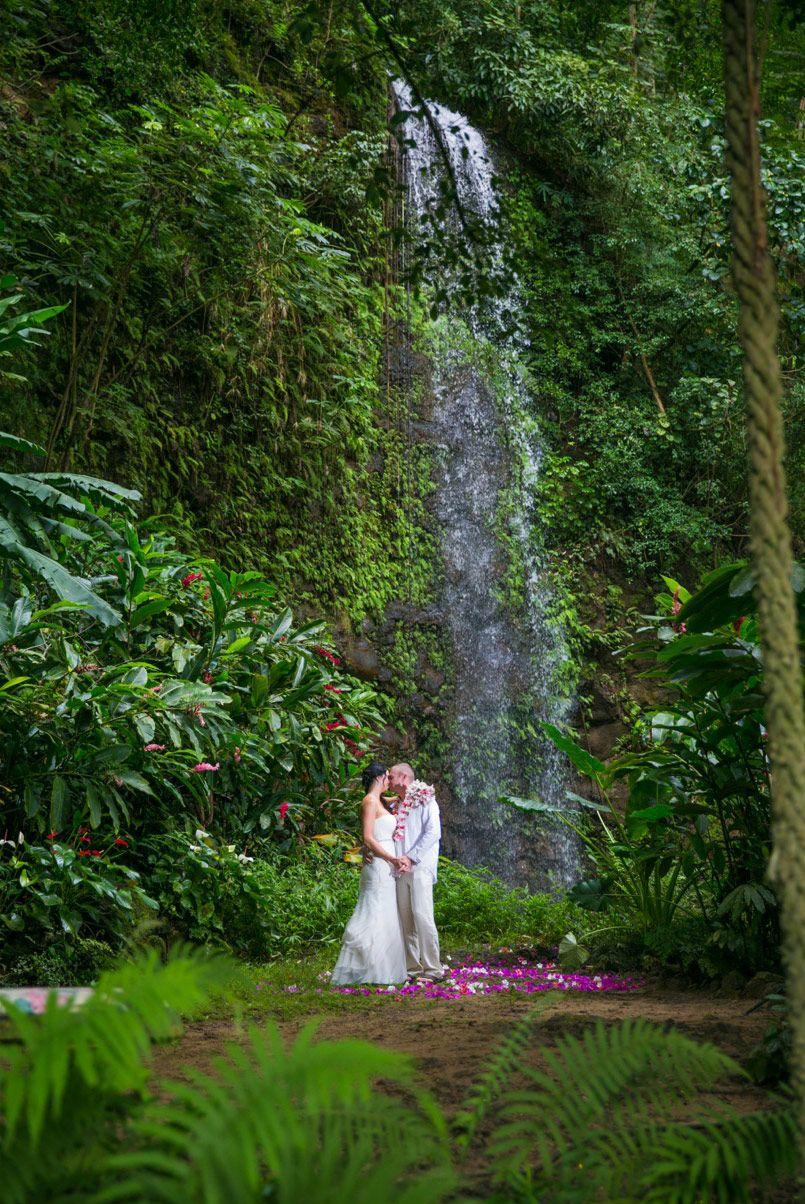 Kalihiwai falls wedding waterfall wedding kauai wedding