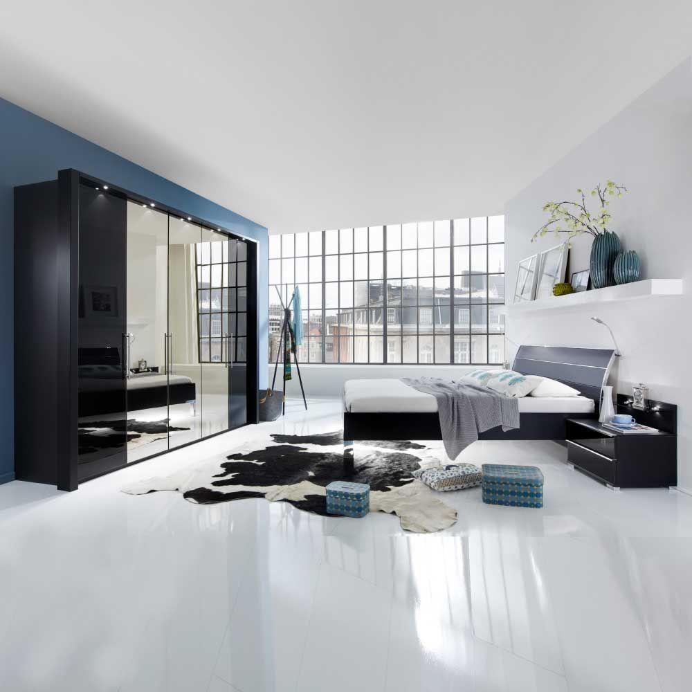 Design Schlafzimmer Set in Schwarz LED Beleuchtung (4-teilig) Jetzt ...
